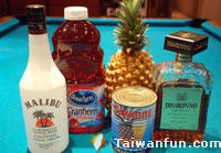 Ingredients of cocktail: Pink Paradise
