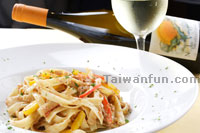 Fettuccine with Goose Liver & Pepper Cream Sauce