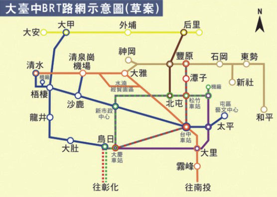 Sketch of Greater Taichung's planned BRT network